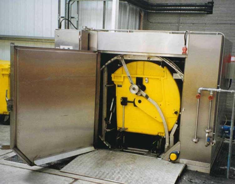 Rotary bin washer